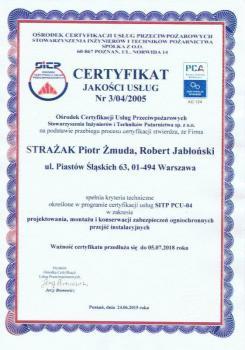 systemy przeciwpożarowe - certyfikat jakości 10