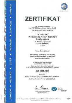 systemy przeciwpożarowe - certyfikat jakości 12