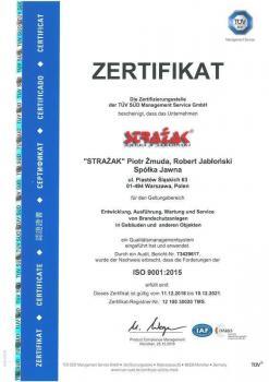 systemy przeciwpożarowe - certyfikat jakości 13