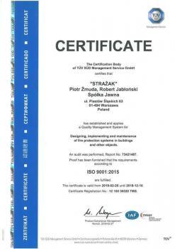 systemy przeciwpożarowe - certyfikat jakości 14