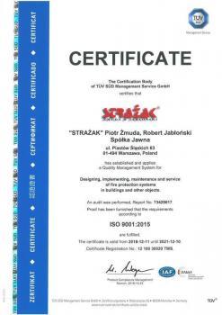 systemy przeciwpożarowe - certyfikat jakości 15