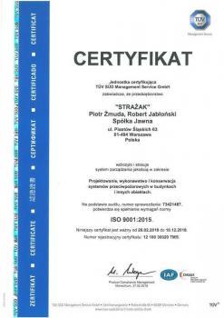 systemy przeciwpożarowe - certyfikat jakości 16