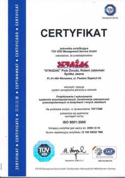 systemy przeciwpożarowe - certyfikat jakości 17