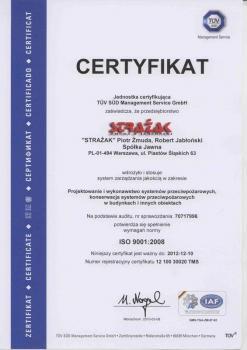 systemy przeciwpożarowe - certyfikat jakości 18
