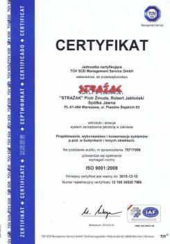 systemy przeciwpożarowe - certyfikat jakości 19