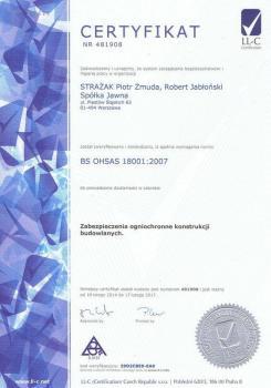systemy przeciwpożarowe - certyfikat jakości 2