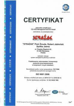 systemy przeciwpożarowe - certyfikat jakości 20