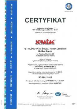 systemy przeciwpożarowe - certyfikat jakości 21