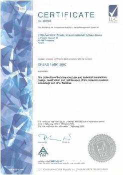 systemy przeciwpożarowe - certyfikat jakości 3