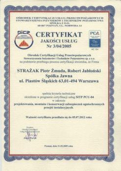 systemy przeciwpożarowe - certyfikat jakości 8