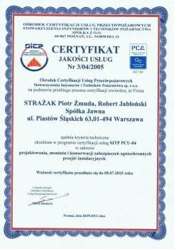 systemy przeciwpożarowe - certyfikat jakości 9