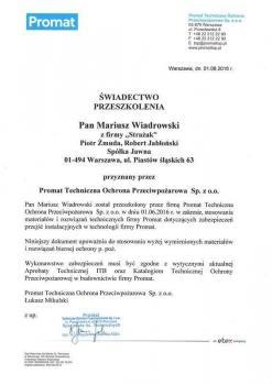 zabezpieczenia bierne - certyfikat 103