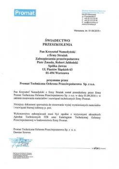 zabezpieczenia bierne - certyfikat 105