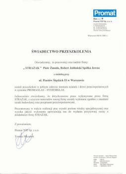 zabezpieczenia bierne - certyfikat 106