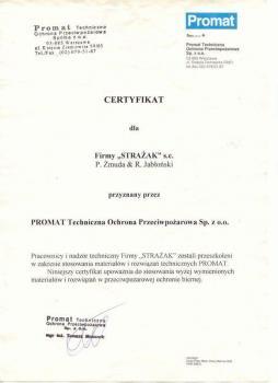 zabezpieczenia bierne - certyfikat 107