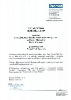 zabezpieczenia bierne - certyfikat 108
