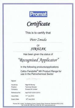 zabezpieczenia bierne - certyfikat 109