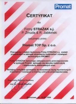zabezpieczenia bierne - certyfikat 114