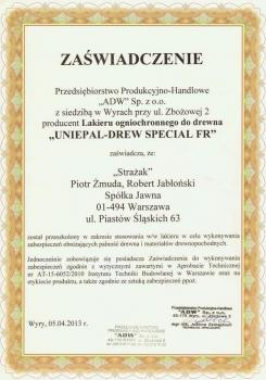 zabezpieczenia bierne - certyfikat 4