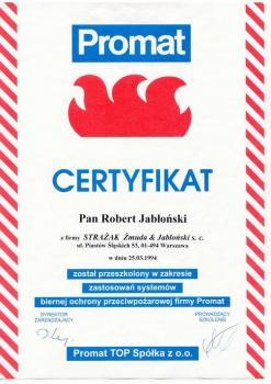 zabezpieczenia bierne - certyfikat 54