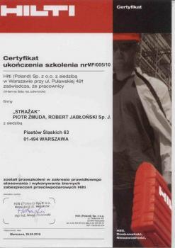 zabezpieczenia bierne - certyfikat 70