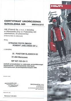 zabezpieczenia bierne - certyfikat 73