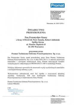 zabezpieczenia bierne - certyfikat 97