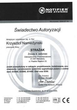 zabezpieczenia czynne certyfikat 103