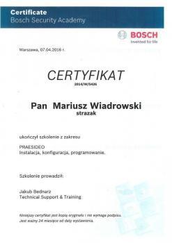 zabezpieczenia czynne certyfikat 120