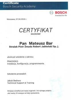 zabezpieczenia czynne certyfikat 121