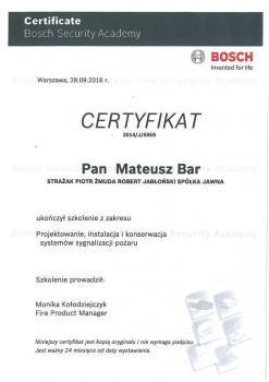 zabezpieczenia czynne certyfikat 122