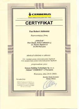 zabezpieczenia czynne certyfikat 134