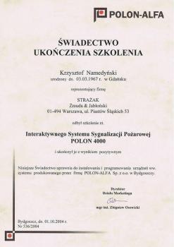 zabezpieczenia czynne certyfikat 153