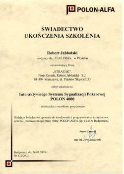 zabezpieczenia czynne certyfikat 154