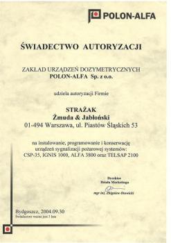zabezpieczenia czynne certyfikat 172