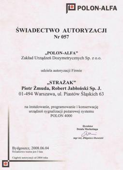 zabezpieczenia czynne certyfikat 173