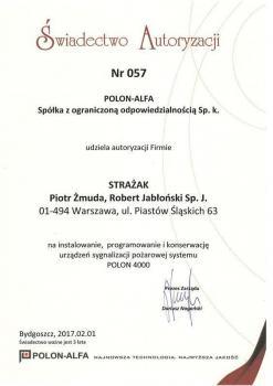 zabezpieczenia czynne certyfikat 175