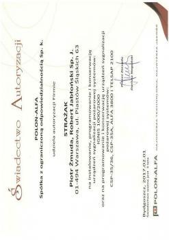 zabezpieczenia czynne certyfikat 177