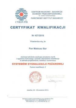 zabezpieczenia czynne certyfikat 30