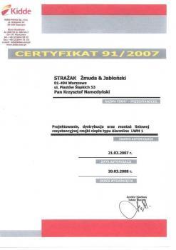 zabezpieczenia czynne certyfikat 37