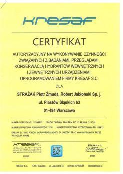 zabezpieczenia czynne certyfikat 38