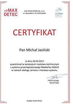 zabezpieczenia czynne certyfikat 40