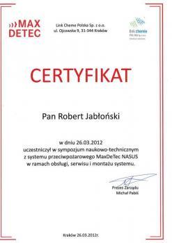 zabezpieczenia czynne certyfikat 41