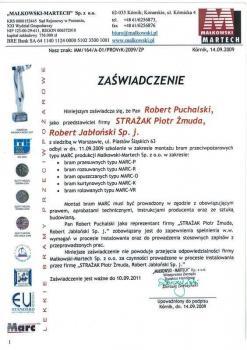 zabezpieczenia czynne certyfikat 43