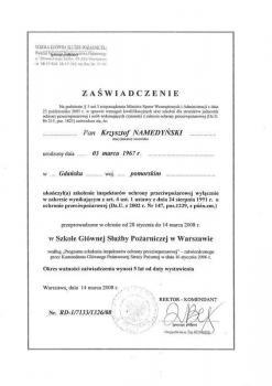 zabezpieczenia czynne certyfikat 52