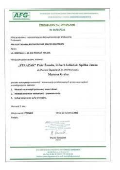 zabezpieczenia czynne certyfikat 56