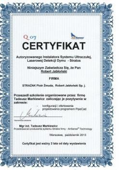 zabezpieczenia czynne certyfikat 73