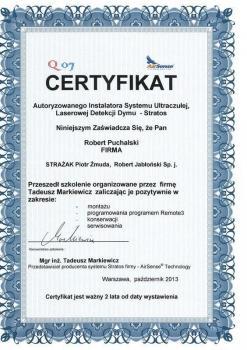 zabezpieczenia czynne certyfikat 74