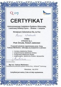 zabezpieczenia czynne certyfikat 75