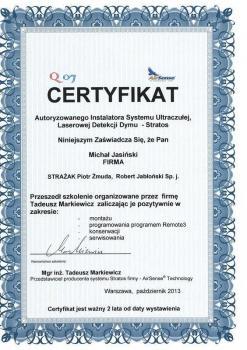 zabezpieczenia czynne certyfikat 76